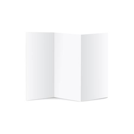 Ilustración de A4 trifold blank leaflets or brochures mockup 3d realistic vector illustration on white background. Empty unfolded open paper template for branding design presentation. - Imagen libre de derechos
