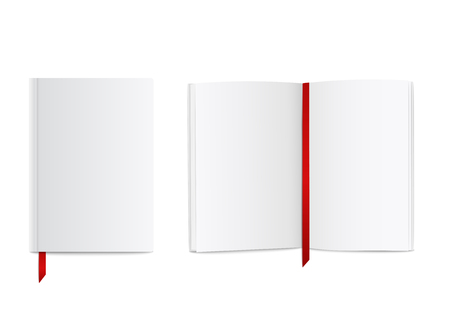 Illustration for Blank realistic book mockup with red ribbon bookmark, open and closed white diary or notebook design with empty pages and cover, isolated paper object vector illustration on white background - Royalty Free Image