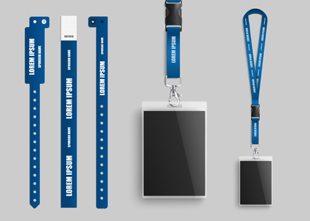 Ilustración de Clear plastic badges id cards holders collection with blue neck lanyards and bracelets for identification and access to events realistic vector illustration template. - Imagen libre de derechos