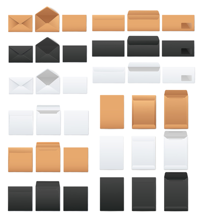 Illustration pour Mockups set of white and black and kraft brown blank envelopes realistic style, vector illustration isolated on white background. Templates of front and back side open and closed envelopes - image libre de droit