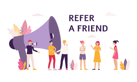 Illustration pour People cartoon characters with loudspeaker the banner for illustration referral marketing program flat vector. Men and women give friend's recommendation template. - image libre de droit