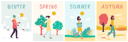 Illustration pour Seasons banners set with walking woman in different clothes flat cartoon style, vector illustration on nature background. Girl goes at outdoor on winter and spring and summer and autumn weather - image libre de droit