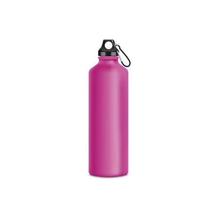 Illustration for Travel or sport water pink bottle or container 3d realistic vector mockup illustration isolated on white background. Drinking reusable container template for branding and design. - Royalty Free Image