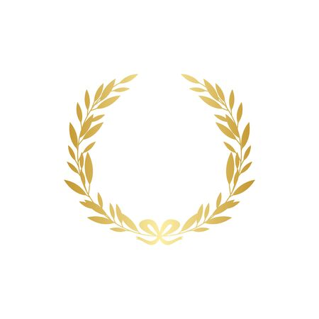 Illustration for Gold laurel wreath silhouette with golden ribbon, realistic leaf branch decoration - ornate frame for text or award symbol. Isolated vector illustration isolated on white background. - Royalty Free Image