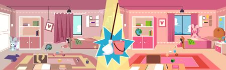 Ilustración de Girl child's room before and after cleaning up with mop broom and bucket. Comparison shot of messy and clean kid bedroom, home interior tidying service banner design- flat cartoon vector illustration - Imagen libre de derechos