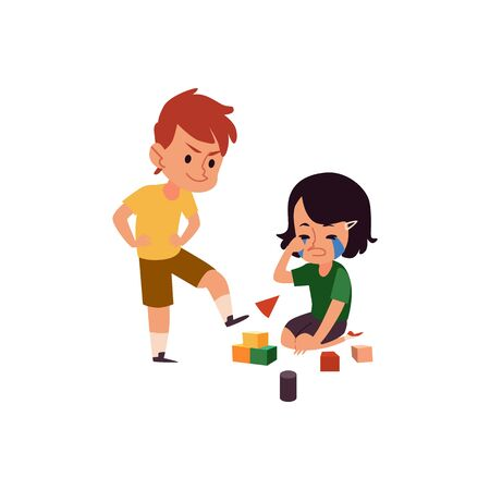 Illustrazione per Boy with bad behavior bullying crying girl, cartoon kid kicking his sister's toy cubes, children in conflict playing with blocks - Immagini Royalty Free