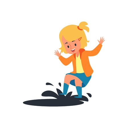 Ilustración de Happy child jumping on rain puddle, little blonde girl having fun splashing mud water with her spring boots, rainy weather play - isolated flat cartoon vector illustration on white background - Imagen libre de derechos