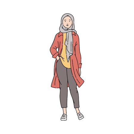 Illustration pour Fashionable, young and modern Arab Muslim girl or woman in pants and hijab. - image libre de droit