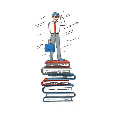 Illustration pour Businessman standing on top of book stack and looking at horizon, well-read smart business man reaching success because of education and knowledge, isolated flat hand drawn cartoon vector illustration - image libre de droit