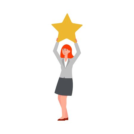 Illustrazione per Customer feedback - young cartoon woman holding up a star, satisfied client adding a positive point to service evaluation, or giving poor one star review - isolated flat vector illustration - Immagini Royalty Free