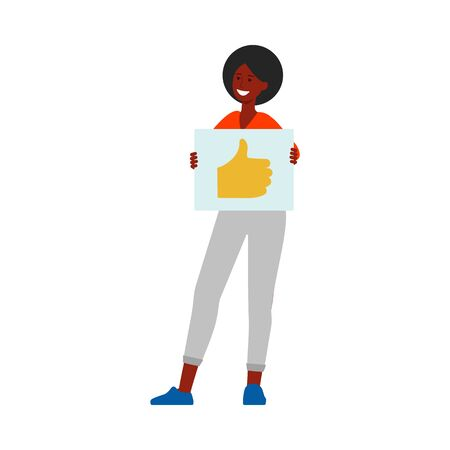 Illustration pour Happy woman holding up thumbs up sign on piece of paper, positive customer feedback illustration in cartoon flat style, good rating by satisfied client - isolated vector drawing on white background - image libre de droit