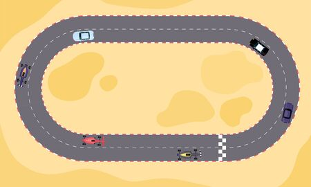 Illustration for Race car speed competition on cartoon track from top view. Sand terrain with oval loop rally road with start and finish line, flat vector illustration - Royalty Free Image