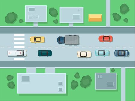 Ilustración de City road top view with highways and different vehicles the cartoon vector illustration isolated on white background. Cars traffic and urban transport infrastructure. - Imagen libre de derechos