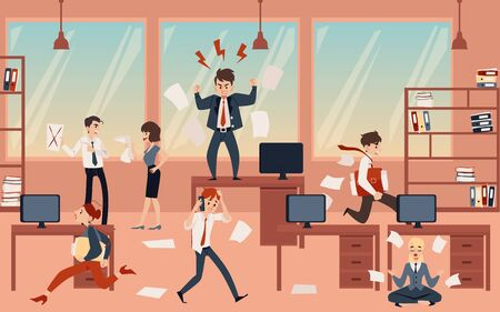 Ilustración de The concept of office chaos in business with the boss, businessmen and employees before deadline. Chaos and office disorder, angry and busy, running and meditating employees, flat cartoon vector illustration. - Imagen libre de derechos
