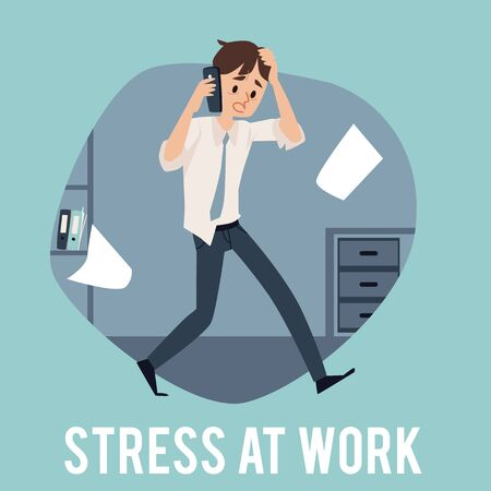 Illustration pour A young busy man experiencing stress at work because of the deadline and office chaos. Male office employee is very busy, stressed and talking on the phone at work, flat cartoon vector illustration. - image libre de droit