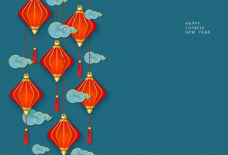 Illustration for Hanging oriental Chinese red lanterns or lamps and traditional decorative clouds on a blue background. Template for congratulations on the celebration of the Chinese New Year. Vector illustration. - Royalty Free Image