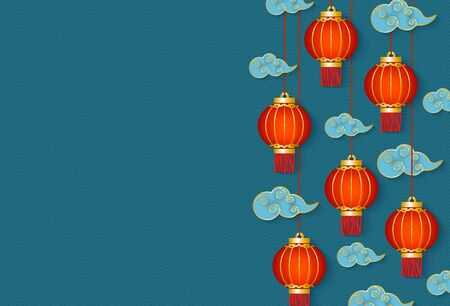 Ilustración de Holiday Chinese New year banner or poster with traditional red lanterns and clouds in oriental style vector illustration on blue textured background. Decorative card. - Imagen libre de derechos