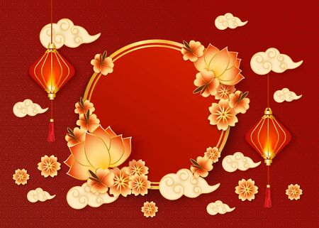 Ilustración de Chinese New year banner with traditional red lanterns and clouds in oriental style and circle frame decorated with flowers vector illustration on textured red background. - Imagen libre de derechos