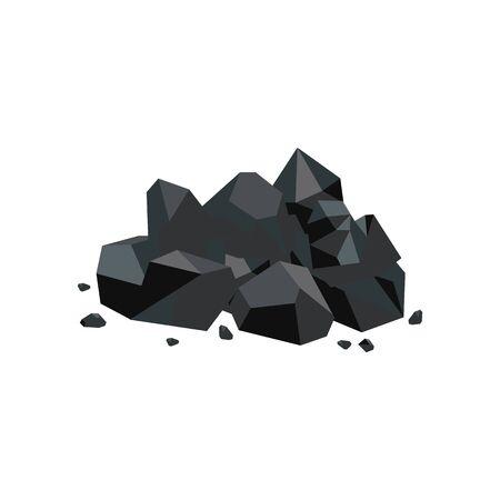 Ilustración de Black coal lump piece, fuel mine industry and energy resource icon, shiny cartoon rock pile with stray stone pieces isolated on white background, flat geometric vector illustration - Imagen libre de derechos