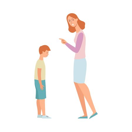 Illustrazione per Woman angry at son, mother scolding and pointing finger at a sad kid, nanny punishing a child for poor discipline, crying boy in trouble, hand drawn flat cartoon style isolated vector illustration - Immagini Royalty Free