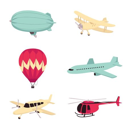 Illustration pour Vector aviation transportation aircrafts set. Vintage dirigible airship or zeppelin, propeller plane, modern passenger airliner, hot air balloon and helicopter. Isolated illustration - image libre de droit