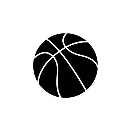 Ilustración de Single ball of basketball, vector icon illustration isolated on white background. Black silhouette of a ball, an icon of sport game, basketball. - Imagen libre de derechos