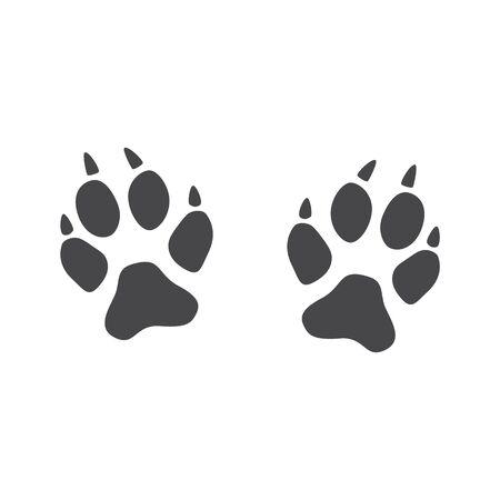 Ilustración de An imprint of the paws of a fox, cat or wild animal with claws. - Imagen libre de derechos