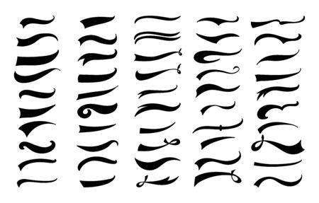 Ilustración de American vintage swoosh decoration set - retro swirl and wave lines for baseball lettering decoration, black flat calligraphy brush style ornaments - isolated vector illustration - Imagen libre de derechos