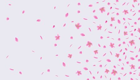Illustration for Pink sakura flower petals floating in the wind - abstract background of cherry blossom flowers flying in air. Beautiful realistic floral vector illustration - Royalty Free Image