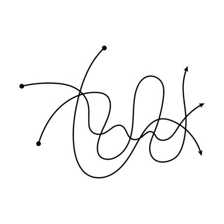 Illustration pour Tangled black arrow lines intertwined in messy hand drawn doodle fashion, freehand scribble path line curves crossing each other in chaotic mess - isolated vector illustration - image libre de droit