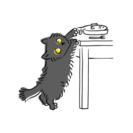 Illustrazione per Funny grey cat stealing fish off the table and looking around, hungry domestic animal being a sly thief. Hand drawn pet kitten cartoon character - isolated vector illustration - Immagini Royalty Free
