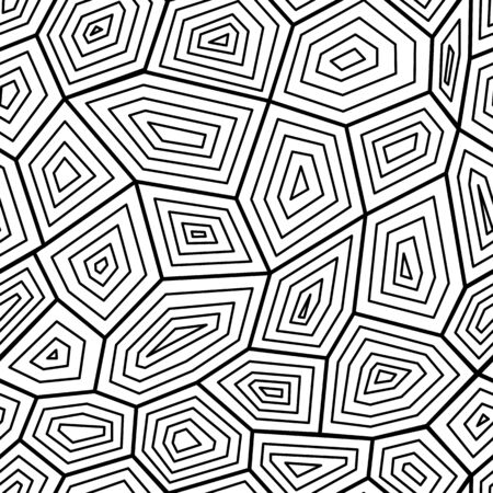 Illustration pour Black and white graphic seamless pattern the texture of turtle shell, vector illustration. Tortoise geometric stylish ornate for textile prints and backgrounds. - image libre de droit