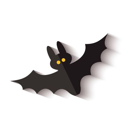 Ilustración de Black flying bat icon with yellow dot eyes and drop shadow isolated on white background - spooky Halloween decoration of night animal creature, vector illustration. - Imagen libre de derechos