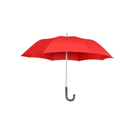 Ilustración de Classic open red umbrella floating isolated on white background, realistic and colorful rain protection accessory with curved handle - vector illustration. - Imagen libre de derechos