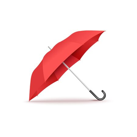 Illustration for Realistic red open umbrella with curved black handle lying on its side - isolated vector illustration on white background, seasonal weather accessory. - Royalty Free Image