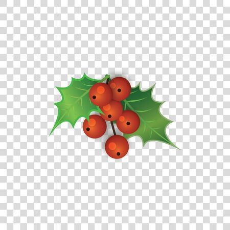 Illustration for Red holly berries with green leaves isolated on transparent background - cute Christmas berry decoration plant in cartoon style - colorful twig vector illustration - Royalty Free Image