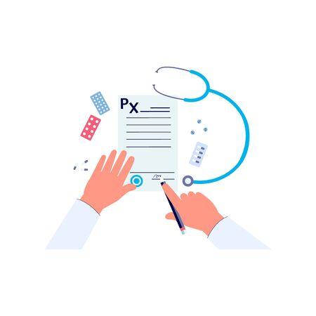 Illustration pour Doctor hands signing medical prescription form - image libre de droit