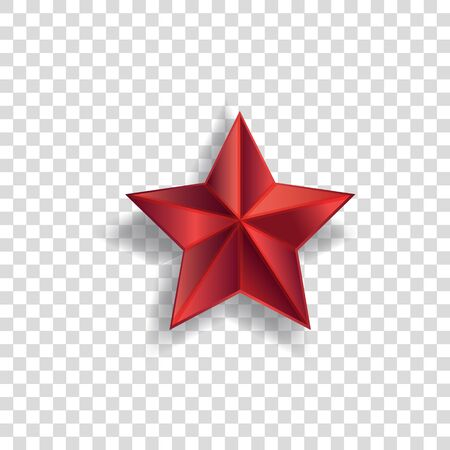 Illustration pour Red star symbol with realistic shadow and pointed shape isolated on transparent - image libre de droit