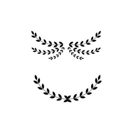 Illustration pour Black wreath divider set - isolated arched laurel branches with leaves forming a curve. Page embellishment or ornate leaf arch decoration - flat vector illustration. - image libre de droit