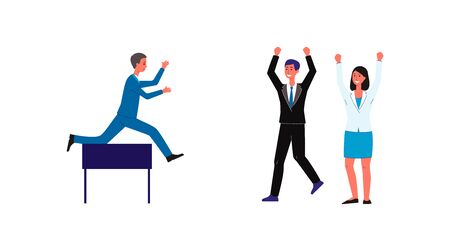 Ilustración de Cartoon businessman jumping over obstacle and office people cheering him on - overcome career challenge metaphor isolated on white background. Flat vector illustration. - Imagen libre de derechos