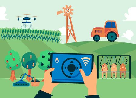 Illustrazione per Smart farm - flat banner of grass field with modern farming automation technology. Flying irrigation drone with control app, harvest robot and other innovation - vector illustration. - Immagini Royalty Free