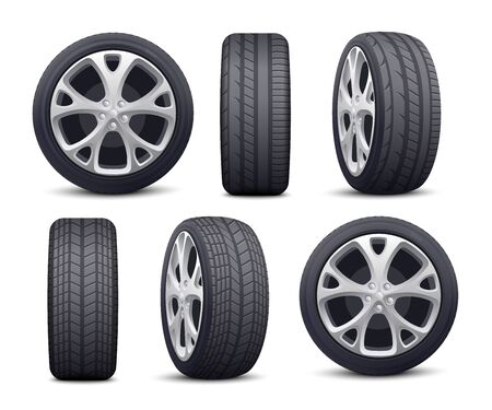 Illustration for Automobile tires and wheels icons set realistic vector illustration isolated on white background. Rubber car tires in foreshortening for transportation and vehicle topics. - Royalty Free Image