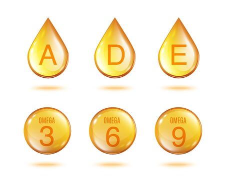 Ilustración de Golden vitamin oil drop set - isolated gold yellow drops and sphere of vitamins A, D, E and Omega 3 6 9 isolated on white background. - Imagen libre de derechos