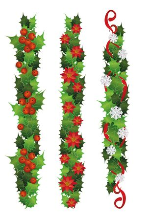 Illustration pour Vertical holly plant borders with red berries and green leaves. Colorful tree branch set with poinsettia flowers and snowflakes - isolated vector illustration. - image libre de droit
