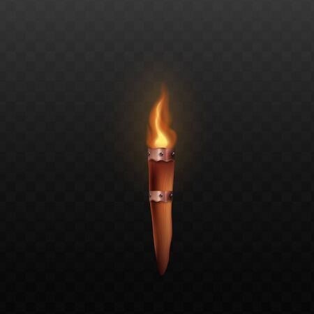 Ilustración de Medieval wooden torch with realistic burning fire isolated on dark transparent background - ancient castle wall mount decoration with bright flame. Vector illustration - Imagen libre de derechos