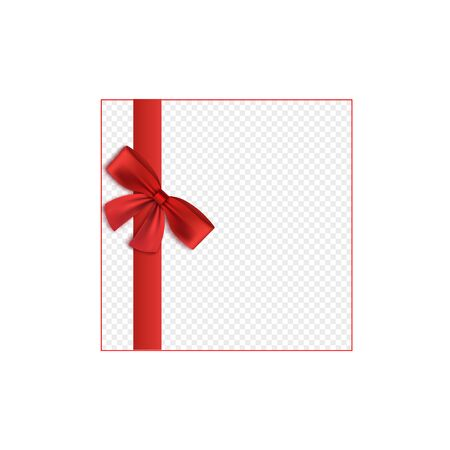 Illustration pour Red satin ribbon tied to bow border element, 3d realistic vector illustration isolated on transparent background. Gift boxes, packs or greeting cards decoration design. - image libre de droit
