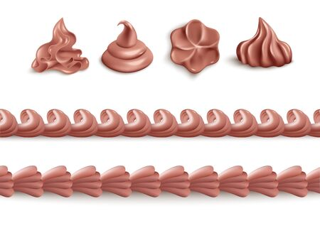 Photo pour Chocolate whipped cream - isolated realistic set of brown dessert icing in individual swirl shapes or seamless line border form. Food decoration collection, vector illustration - image libre de droit