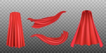 Ilustración de Set of red superhero cloaks or flowing silk fabrics, realistic vector illustration isolated on transparent background. Carnival clothes, decorative costume element. - Imagen libre de derechos