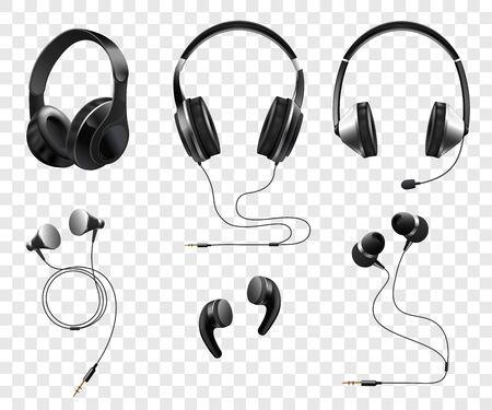 Ilustración de Set of realistic wireless and corded headphones and earphones 3d vector illustration isolated on transparent background. Music and sound gadgets or dj equipment. - Imagen libre de derechos
