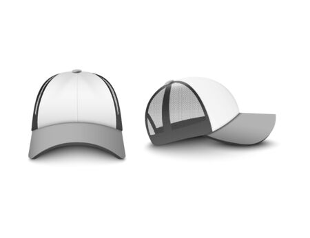 Ilustración de Silver gray and white trucker cap with mesh front and side view set of realistic vector illustrations mockup isolated on white background. Company uniform hat template. - Imagen libre de derechos